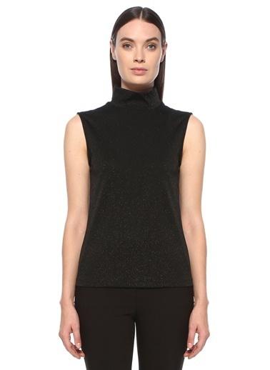 NetWork NetWork 1076822 BalıkÇı Yaka Simli Kolsuz Bluz Siyah